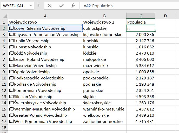 Wykres typu Kartogram - wizualizacja danych na mapie w Excel