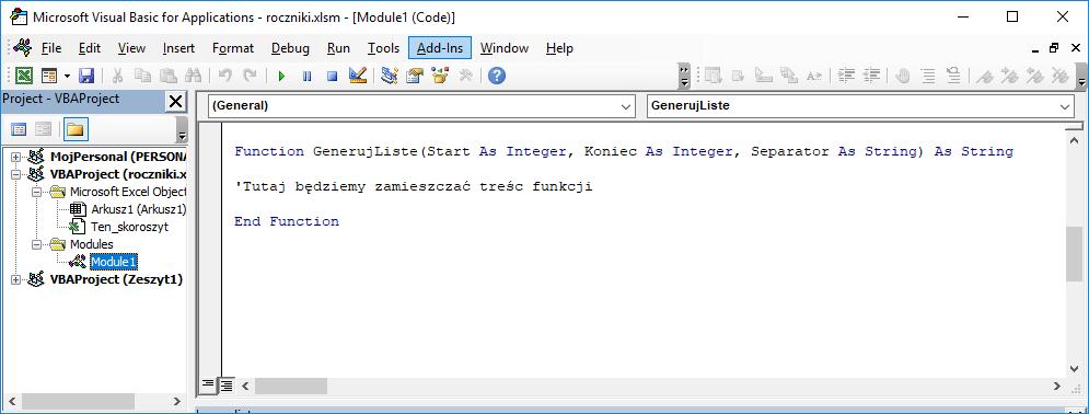 1 Niestandardowa funkcja użytkownika Excel w VBA