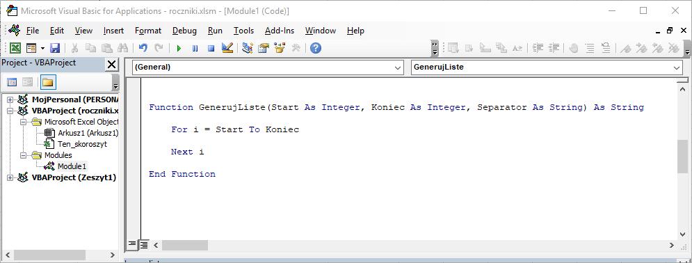 2 Niestandardowa funkcja użytkownika Excel w VBA