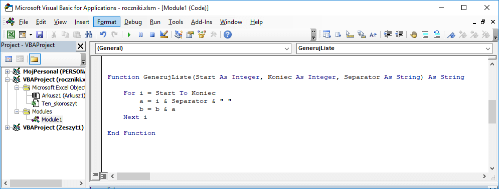 3 Niestandardowa funkcja użytkownika Excel w VBA
