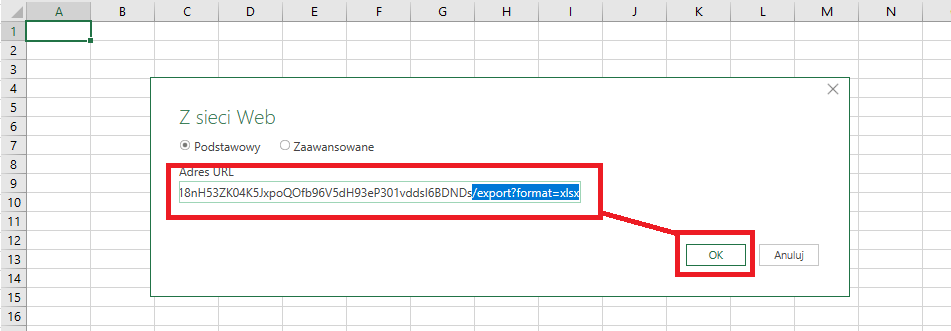 Pobieranie danych z Arkuszy Google do Excela